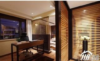 中式风格二居室温馨米色富裕型工作区隔断效果图