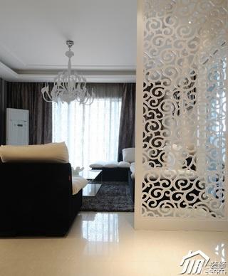 简约风格公寓大气白色豪华型110平米客厅隔断灯具效果图