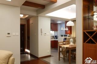 简约风格公寓温馨原木色富裕型门厅客厅过道设计图