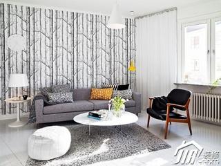 北欧风格公寓舒适白色经济型客厅背景墙沙发效果图