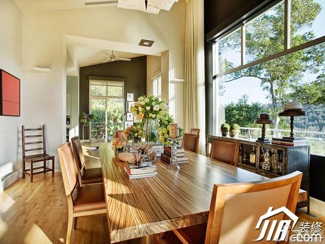 美式乡村风格别墅奢华富裕型餐厅餐桌效果图