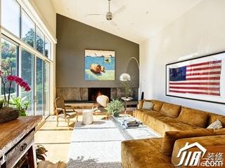 美式乡村风格别墅奢华富裕型客厅沙发背景墙沙发效果图