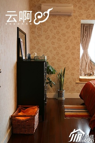 美式乡村风格三居室富裕型卧室窗帘装修效果图