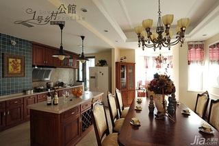 美式乡村风格别墅奢华原木色豪华型140平米以上厨房灯具效果图