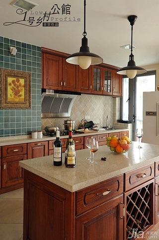 美式乡村风格别墅奢华原木色豪华型140平米以上厨房橱柜效果图