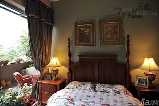 美式乡村风格别墅奢华原木色豪华型140平米以上卧室卧室背景墙床效果图