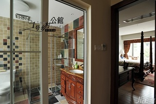 美式乡村风格别墅奢华原木色豪华型140平米以上卫生间洗手台效果图