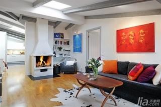 北欧风格公寓简洁经济型60平米客厅沙发背景墙沙发效果图