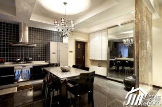 公寓富裕型餐厅客厅隔断餐桌效果图