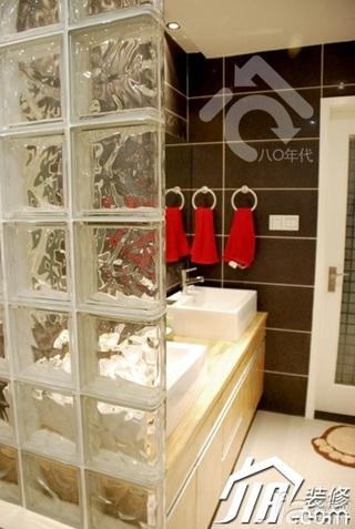 简约风格公寓时尚米色富裕型卫生间隔断洗手台婚房家装图