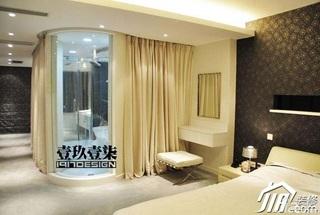 欧式风格复式富裕型卧室窗帘效果图