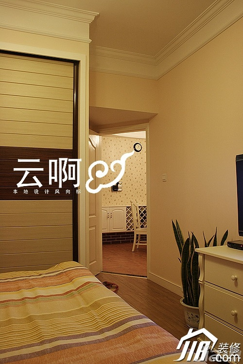 田园风格二居室富裕型卧室电视柜效果图