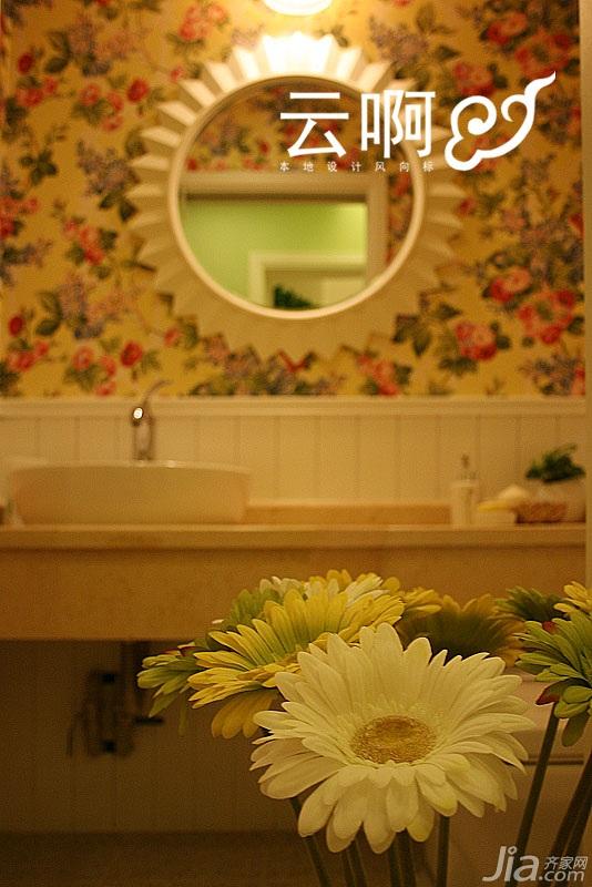 田园风格三居室富裕型卫生间效果图