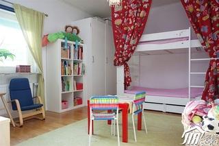 田园风格别墅小清新富裕型儿童房儿童床效果图