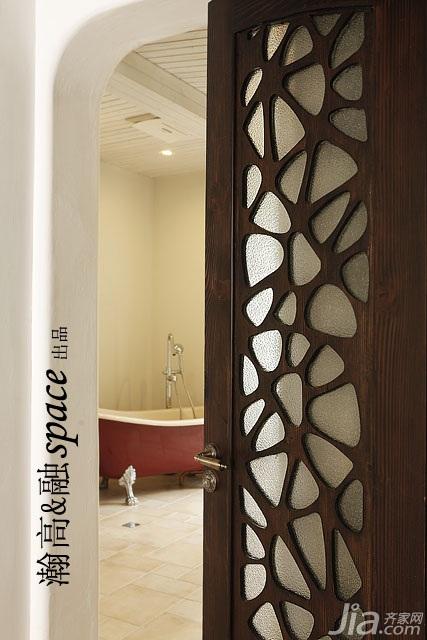 简欧风格二居室时尚暖色调富裕型卫生间装修效果图