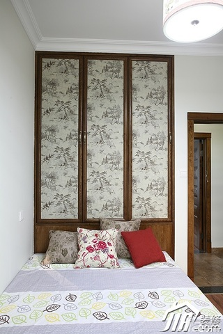 中式风格公寓富裕型卧室衣柜安装图