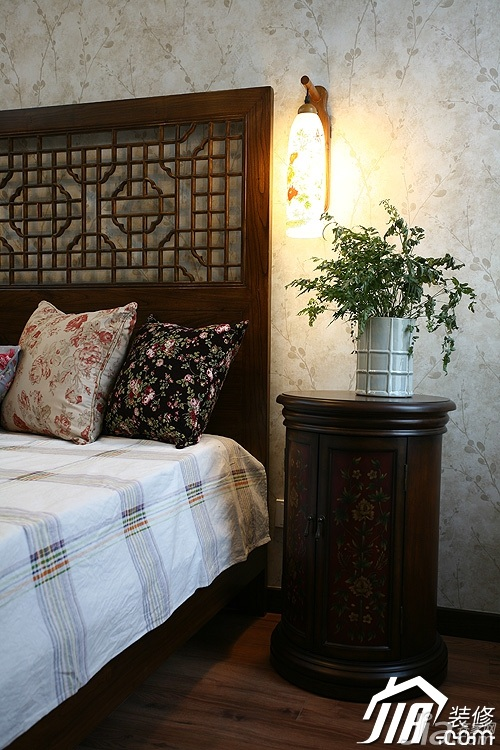 中式风格公寓富裕型卧室壁纸图片