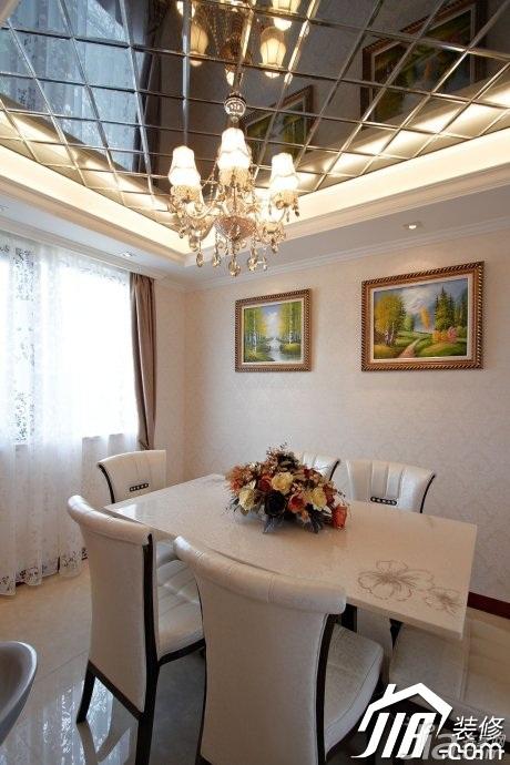 新古典风格公寓奢华富裕型120平米餐厅餐厅背景墙餐桌效果图