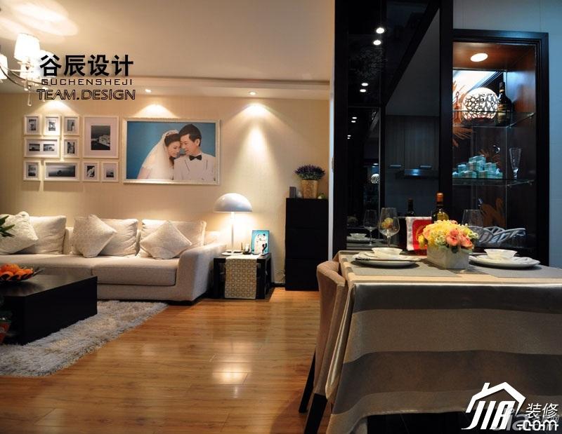简约风格公寓温馨暖色调富裕型客厅电视背景墙茶几图片