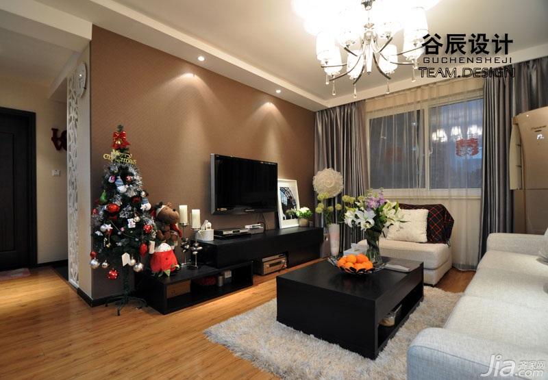 简约风格公寓温馨暖色调富裕型客厅茶几图片