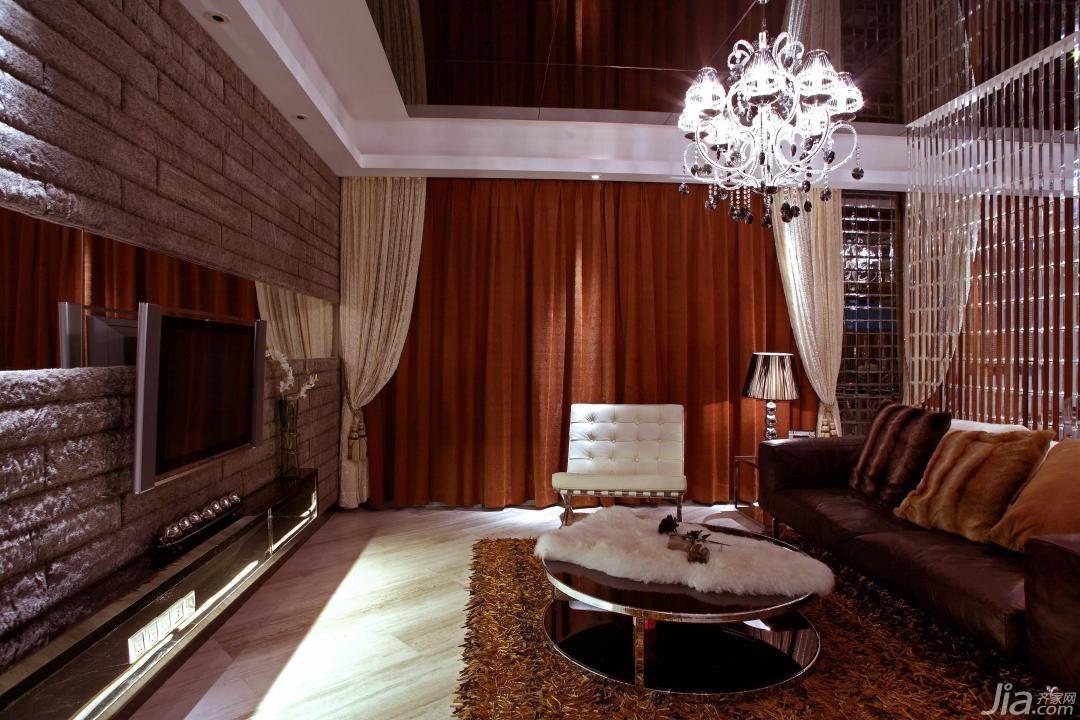 欧式风格公寓富裕型电视背景墙窗帘图片