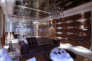 欧式风格公寓富裕型电视背景墙窗帘效果图