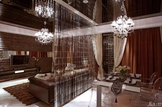 欧式风格公寓富裕型餐厅电视背景墙窗帘图片