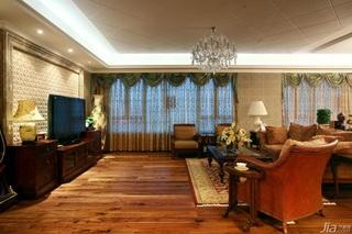 田园风格公寓富裕型客厅电视背景墙窗帘效果图