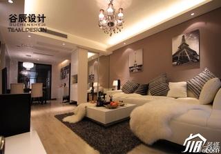 简欧风格公寓时尚咖啡色富裕型客厅沙发婚房家装图片