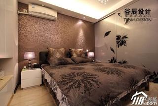 简欧风格公寓时尚咖啡色富裕型卧室壁纸婚房家装图片