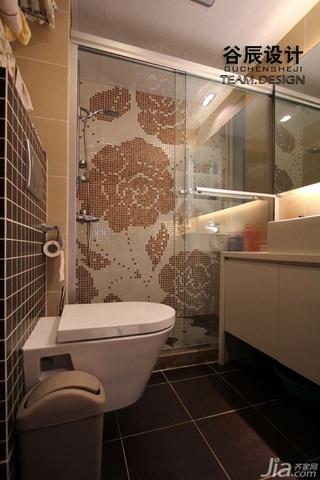 简欧风格公寓时尚咖啡色富裕型卫生间洗手台婚房家装图片