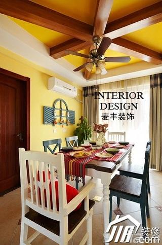 混搭风格复式富裕型餐厅吊顶窗帘图片