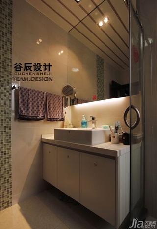 宜家风格公寓时尚咖啡色富裕型卫生间浴室柜效果图