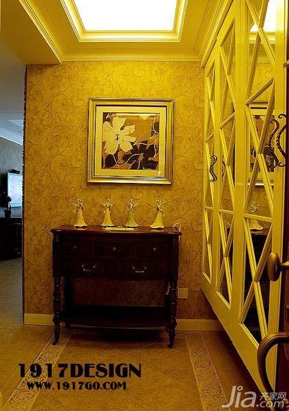 美式乡村风格公寓富裕型门厅隔断壁纸效果图高清图片
