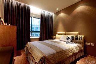 谷辰设计欧式风格三居室大气褐色富裕型卧室飘窗窗帘效果图