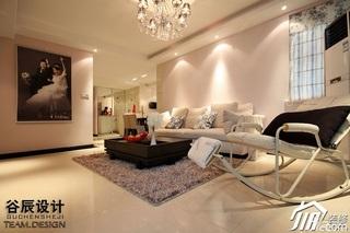 简约风格公寓时尚米色富裕型客厅灯具婚房家装图