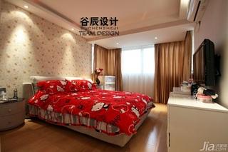 简约风格公寓时尚米色富裕型卧室床婚房家装图片