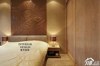 中式风格别墅豪华型卧室卧室背景墙床效果图
