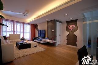 设计年代简欧风格公寓时尚暖色调富裕型客厅沙发背景墙茶几婚房家装图片
