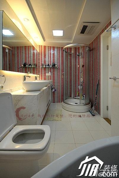 设计年代简欧风格公寓时尚暖色调富裕型卫生间洗手台婚房设计图纸