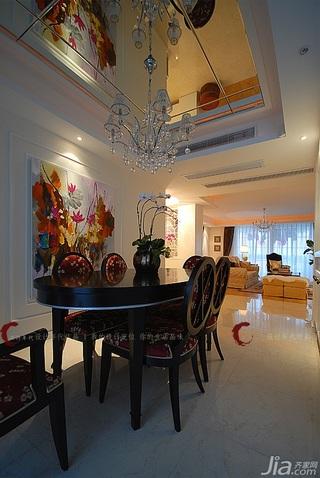 设计年代欧式风格公寓奢华暖色调豪华型餐厅吊顶餐桌效果图