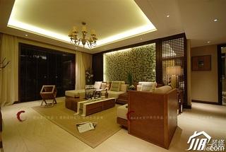 设计年代欧式风格公寓大气暖色调客厅隔断灯具效果图