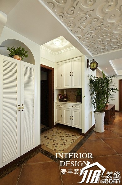 美式乡村风格公寓富裕型100平米门厅鞋柜效果图高清图片