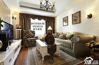 美式乡村风格别墅富裕型120平米客厅沙发图片