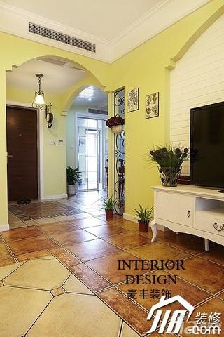 田园风格公寓黄色富裕型120平米客厅过道装修效果图