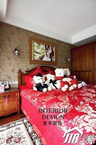 美式乡村风格公寓富裕型100平米卧室电视柜效果图