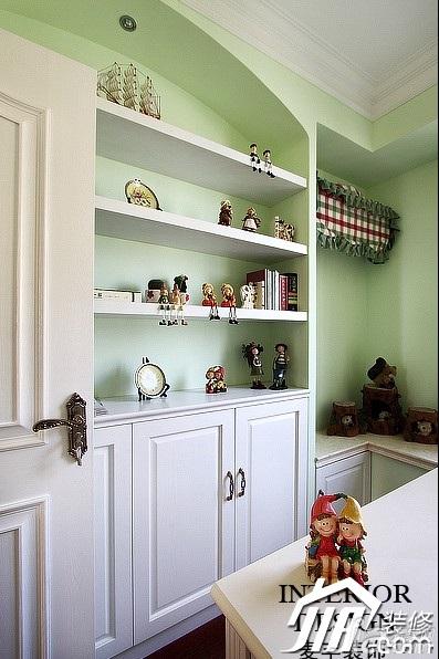 美式风格公寓绿色豪华型100平米书房书架图片