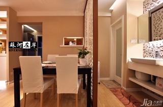简约风格公寓温馨暖色调富裕型餐厅隔断餐桌效果图