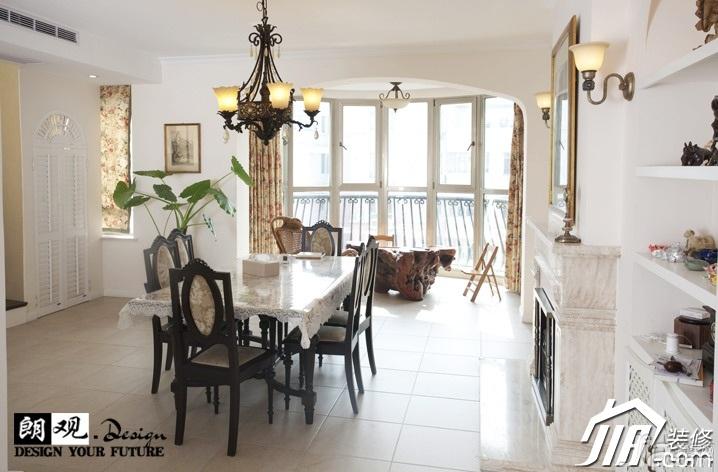 欧式风格复式小清新白色富裕型餐厅餐桌效果图