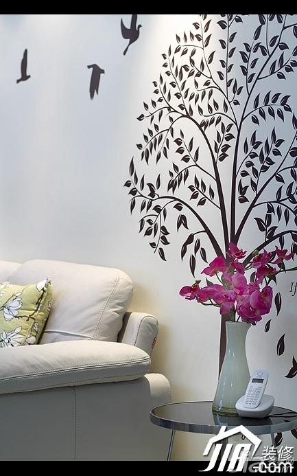 简约风格公寓富裕型100平米客厅背景墙装修效果图